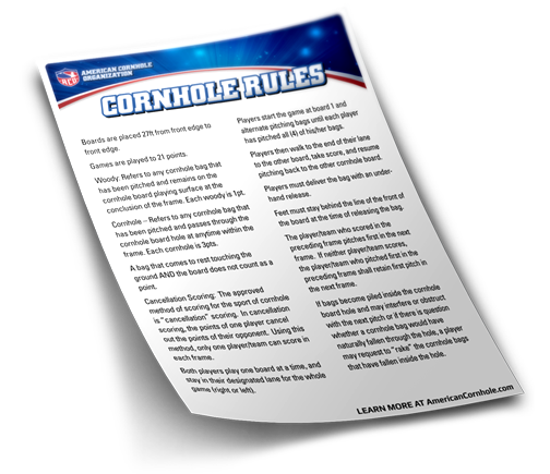Official Cornhole Rules By The Aco American Cornhole